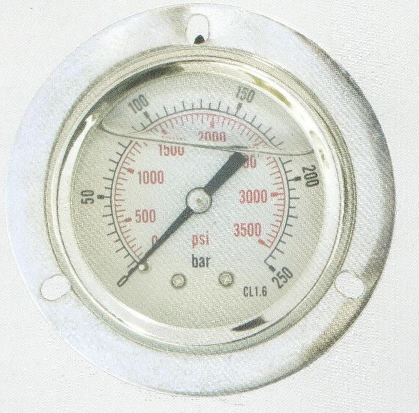 """מד לחץ 0-250 בר הברגה אחורית """"1/4"""