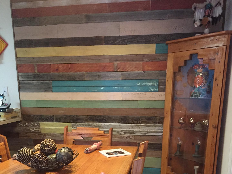 Colored barnwood wall