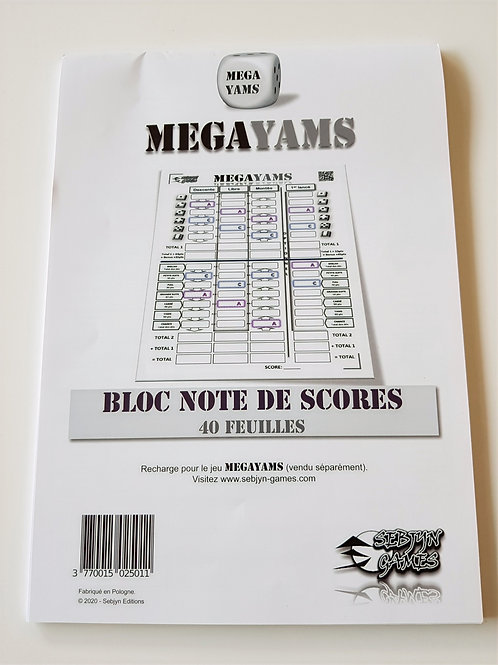 Bloc de 40 feuilles de scores MegaYams