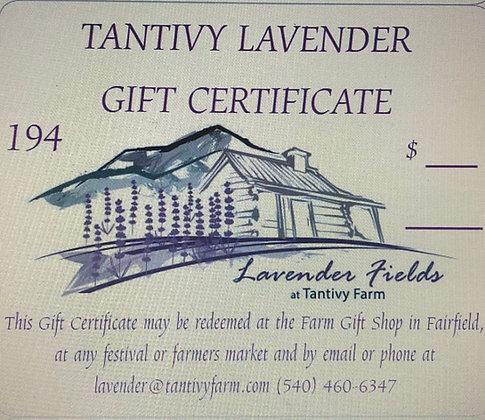 Tantivy Lavender Gift Certificate