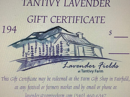 Tantivy Lavender Gift Certificate