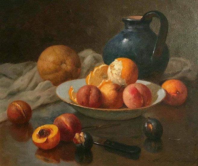Steinkrug, Melone, Orangen, Pfirsiche und Pflaumen