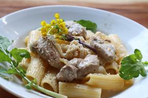 本川手箱きじのクリームソースリガトーニ Rigatoni in HONGAWA TEBAKO pheasant cream sauce