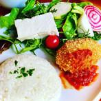 Veggie plate of hand-squeezed tofu salad  手絞豆富サラダのベジプレート