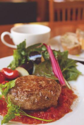 奥山育ちのハンバーグステーキ(トマトソース) Wild Boar & Venison meatloaf from deep mountain with organic tomato sauce