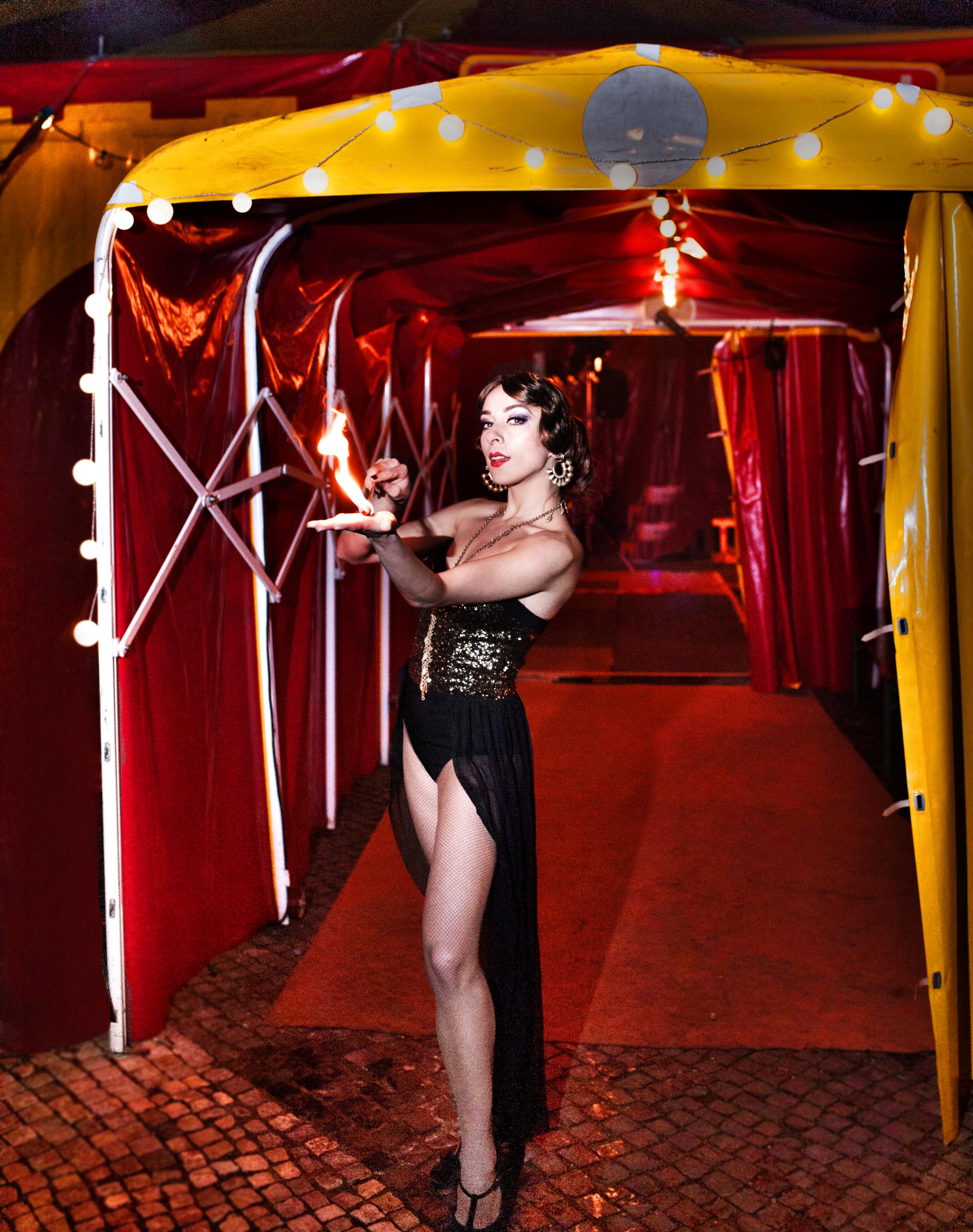 Yazz burlesque dance fire eater