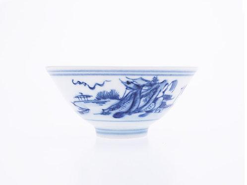 景德鎮手繪青花瓷杯, 山水