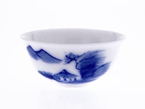 90年代潮州手繪青花白瓷杯,27ml