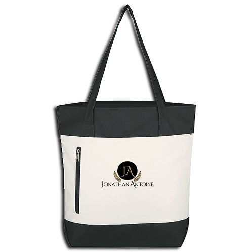 Jonathan Antoine Black and White Embroidered Logo Tote