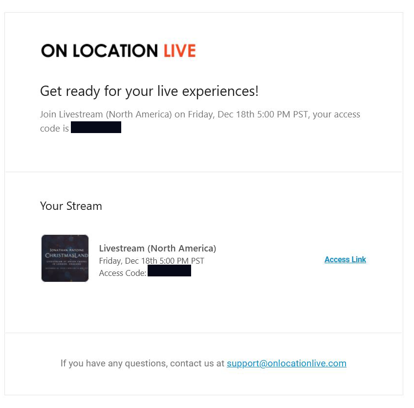 Ticket Receipt in email