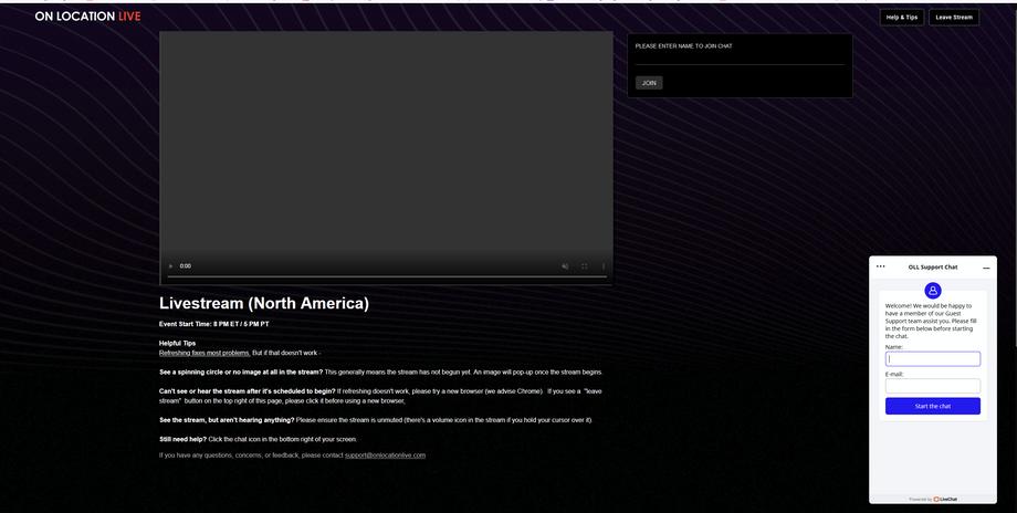 Livestream Page Screenshot