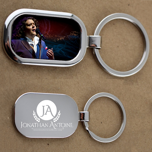 Jonathan Antoine Silvertone with Image and Logo Keychain