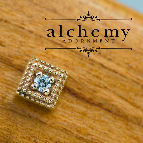Alchemy Adornment 4mm Milgrain Square with 2mm Swarovski Crystal