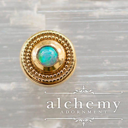 Alchemy Adornment Round Milgrain with 2mm Faux Opal