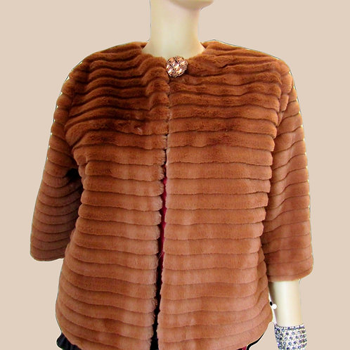 Light Brown Artificial Fur Jacket