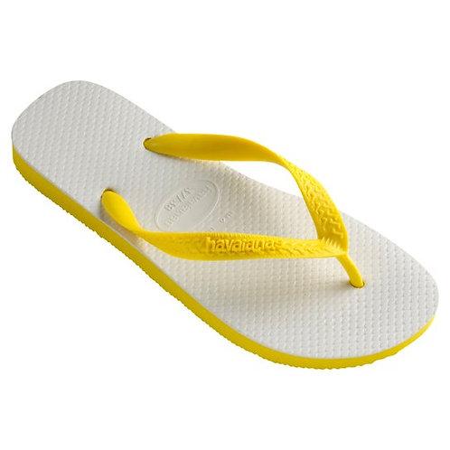 Havaianas tradicionais - brancas e amarelas