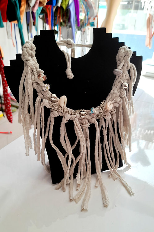 Long Yarn Necklace with Pearls - Handmade