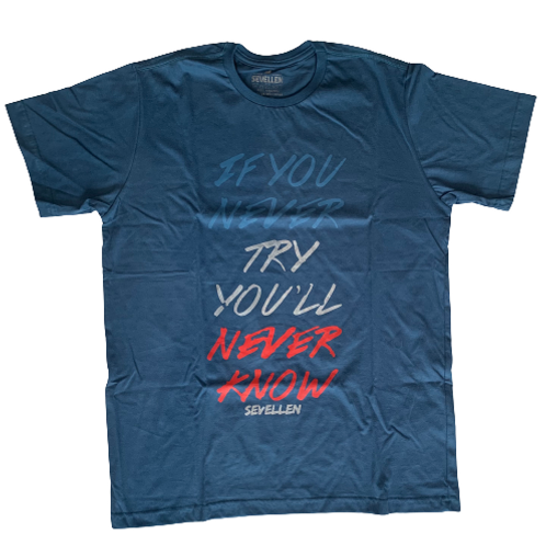 Blue Men's T-Shirt with Inspirational Quotes - Paixao no.10