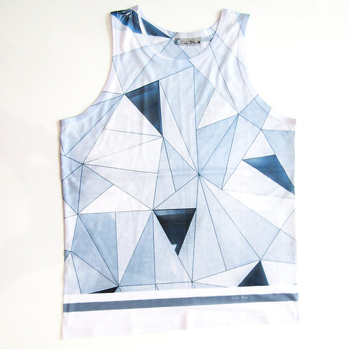 Men's T-shirt with blue symmetricprint - Paixao no. 3