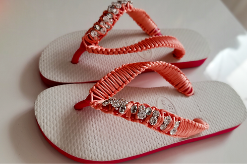 White and  Rose /  Pink Havaianas - Hand Finished Flip Flops