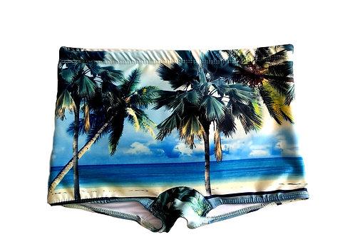 Brazilian Swimming Shorts with Beach Print / Trunks  - Sunga Paixão no. 65