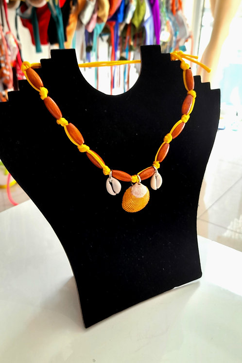 Yellow Wooden Handmade Necklace