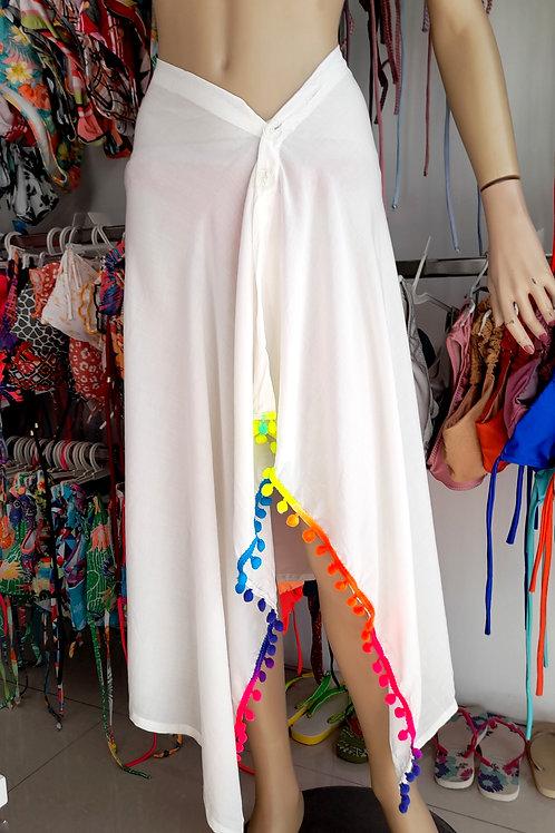 Multifunctional Beach  Skirt in White with Rainbow pattern