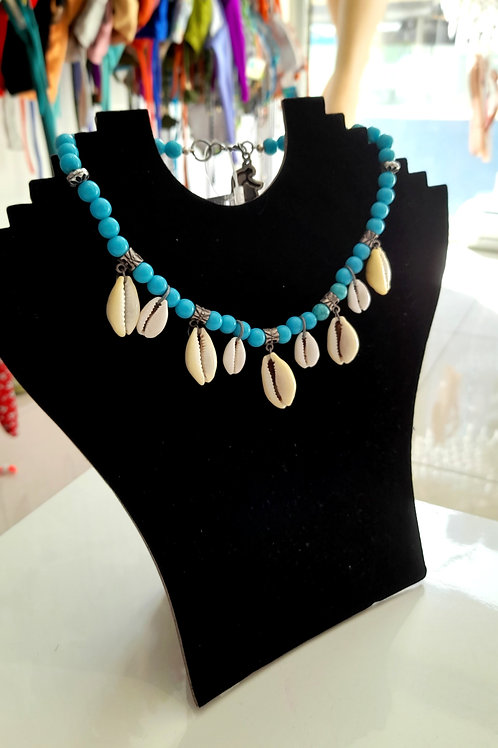 Handmade Blue Necklace with Sea Shells