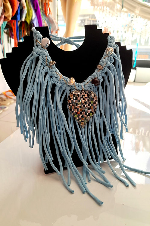 Blue Long Yarn Necklace  with Pearls - Handmade