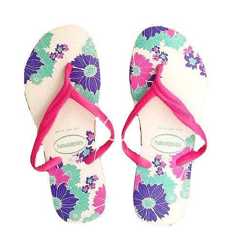 White & Floral Havaianas Women's  Flip Flop