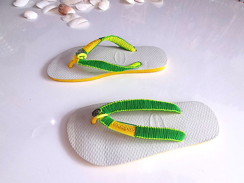 White Havaianas With Brasil Colors  - Hand Finished