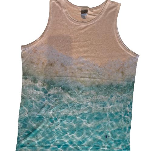 Camiseta masculina sem mangas com estampa de praia - Paixao no.15