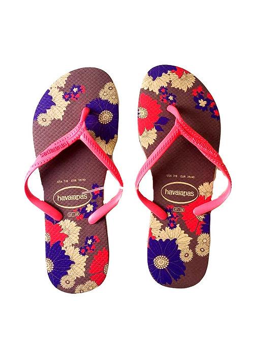 Chinelo feminino  - Havaianas violeta e floral