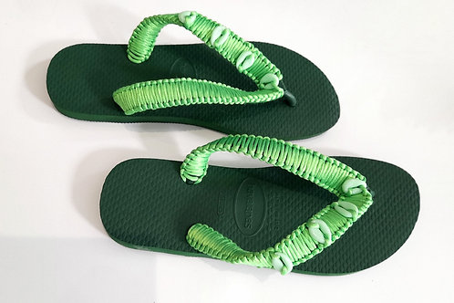 Green Havaianas - Hand Finished