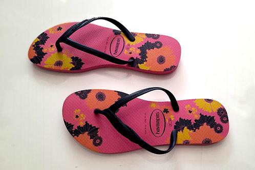 Havaianas - Pink Floral Print - Pink Slim