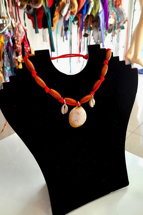 Handmade Necklace - Red and Wooden