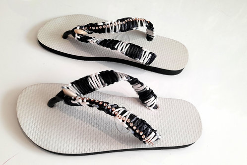 Black and White Havaianas - Hand Finished