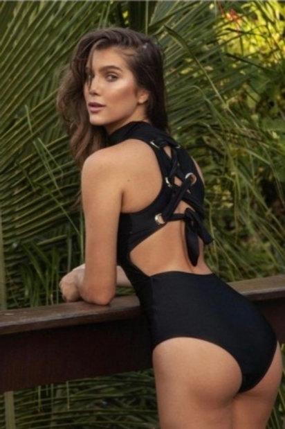 Brasilian One-Piece Black Swimsuits High Neck & Back Design -  Paixão no. 408