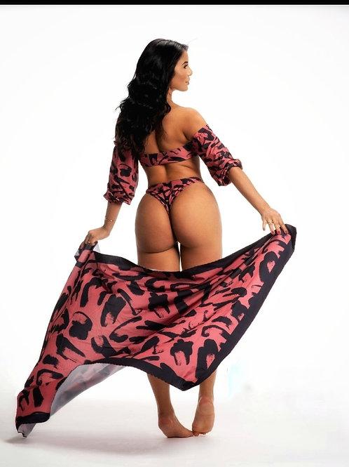 Canga - Pareo Beach Towel Red Animal Print - Paixao Fruit No. 5