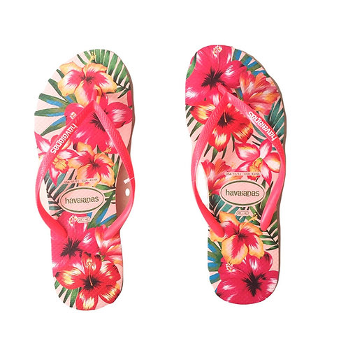 Havaianas - Cor Salmão e Estampa Floral - Pink Slim