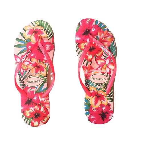 Havaianas - Salmon Color  & Floral Print - Pink Slim