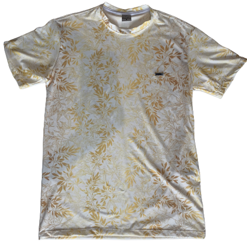 White Men's T-Shirt with Golden Tropical Leaves - Paixao no.8