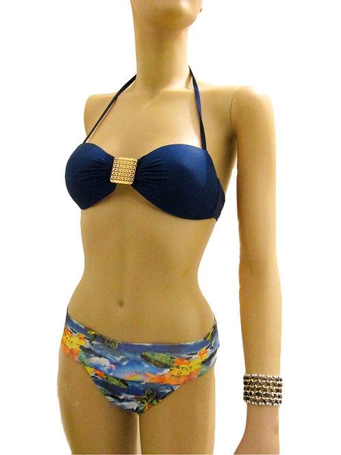 Paixão no. 246 - Brazilian Bikini with removable stripes and tropical print