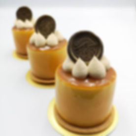 Salted crème brulee mousse cake; One of