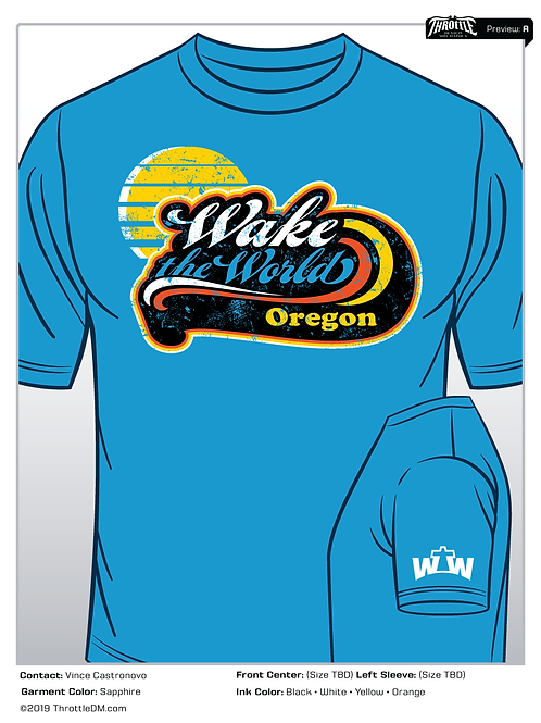 T-Shirt (Blue SS): 2019 WTW Oregon T-Shirt, short sleeve  (Blue)