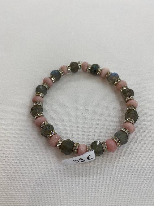 Bracelet en Labradorite et Opale Rose