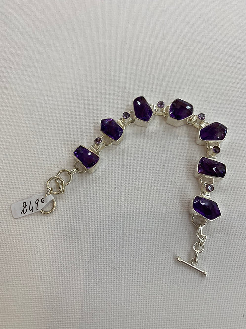 Bracelet en Améthyste Facettée