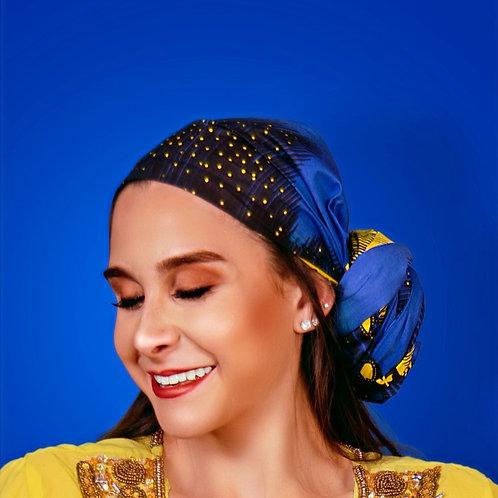 Indigo Blue African Head Wrap