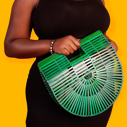 Green Bamboo Clutch Large