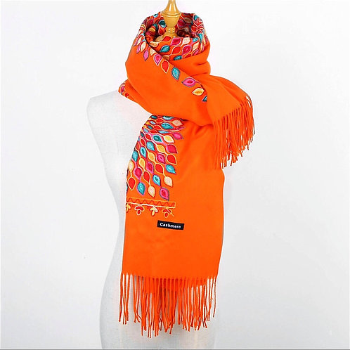 Orange Embroidered Scarf